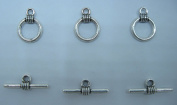 Antique Silver Colour Toggle Clasps 12mm Pack of 50Sets