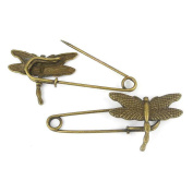 Price per 10 Pieces Fashion Jewellery Making Charms Findings Arts Crafts Beading Antique Bronze Tone 35669 Dragonfly Safety Pins Brooch