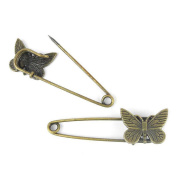 Price per 10 Pieces Fashion Jewellery Making Charms Findings Arts Crafts Beading Antique Bronze Tone 73898 Butterfly Safety Pins Brooch