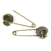 Price per 10 Pieces Fashion Jewellery Making Charms Findings Arts Crafts Beading Antique Bronze Tone 20504 Mushroom Safety Pins Brooch
