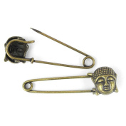 Price per 40 Pieces Fashion Jewellery Making Charms Findings Arts Crafts Beading Antique Bronze Tone 26492 Buddha Safety Pins Brooch