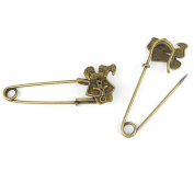 Price per 10 Pieces Fashion Jewellery Making Charms Findings Arts Crafts Beading Antique Bronze Tone 72260 Lover Safety Pins Brooch