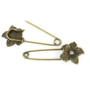 Price per 20 Pieces Fashion Jewellery Making Charms Findings Arts Crafts Beading Antique Bronze Tone 85402 Flower Safety Pins Brooch