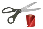 60cm Black Ribbon Cutting Scissors And 25 X 6 Ribbon