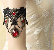 mywaxberry handmade bridal wedding dress accessory tiara armband chain jewellery, black gothic lace red gemstones