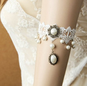 mywaxberry handmade bridal wedding dress accessory tiara armband chain jewellery, white pearls lace flower