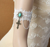 mywaxberry handmade bridal wedding dress accessory tiara armband chain jewellery, white lace cross