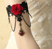 mywaxberry handmade dress accessory tiara armband chain jewellery,black cosplay lace gothic vampire tassel