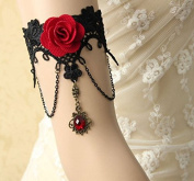mywaxberry handmade dress accessory tiara armband chain jewellery,black vampire lace red rose palace style