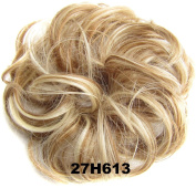 Ladies Synthetic Wavy Curly or Messy Dish Hair Bun Extension Hairpiece Scrunchie Chignon Tray Ponytail#27H613 Strawberry blonde/Lightest blonde