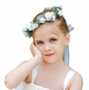 Wedding Flower Girl Halo Crown Flowers Leaf Headpiece Headband Garland Wreath for Hair Accessories Boho