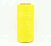 YELLOW 1x0.5mm Flat Waxed Braided Polyester Cord Beading Jewellery Leather Craft Stitching String
