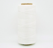 WHITE 1x0.5mm Flat Waxed Braided Polyester Cord Beading Jewellery Leather Craft Stitching String
