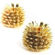 Factory Direct Craft® Pair of Metallic Gold Painted Metal Pinecone Candle Holders for Holiday and Home Decor