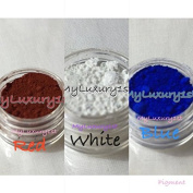10g Lot of 3 Matte Red White Blue Pigment Powder Colourants for Melt & Pour Soap, Salts, and Lotion Making 10 Gramme Jar Samples