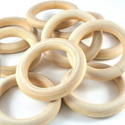 "LMS 25pcs Natural Wood Rings Circle Unfinished Wood for DIY Projects Pendant Connectors Jewellery Making 2-2/8"" (56mm)!"
