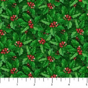 Holly With Red Berries Jolly Old St. Nicholas Series Northcott Cotton Fabric
