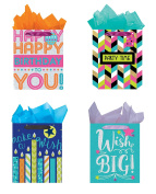 All Occasion Party Gift Bags - Set of 4 Tri-Glitter Large Birthday Bag w/Tags & Tissue Paper