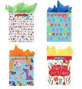 All Occasion Party Gift Bags - Set of 4 Large Birthday Gift Bags w/Tags & Tissue Paper