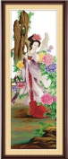 Dahlia DIY Four Great Beauties of Ancient China People Counted Cross Stitch Kits 11CT Print Embroidery Handmade Needlework Wall Home Decor (Cotton Thread 112x38CM, The Drunken Beauty