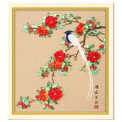 Egoshop Silk Ribbon Embroidery Kit Good luck DIY Wall Decor Silk Ribbon Embroidery Kit With English Instruction