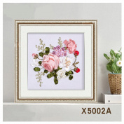 Egoshop Silk Ribbon Embroidery Spring Flower blooming Kit Eight Couplet Painting X5002A DIY Wall Decor Stamp Silk Ribbon Embroidery Kit With English Instruction