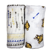 Babio Muslin & Bamboo Cotton Baby Swaddle Blanket Set - 120cm x 120cm - 2 Pack