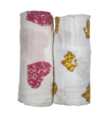 Babio Muslin & Bamboo Cotton Baby Swaddle Blanket Set - 120cm x 120cm - Pink- 2 Pack
