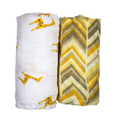 Babio Muslin & Bamboo Cotton Baby Swaddle Blanket Set - Yellow/White - 120cm x 120cm - 2 Pack
