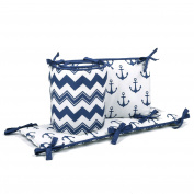 Navy Blue Nautucal and Zig Zag Baby Crib Bumper by The Peanut Shell
