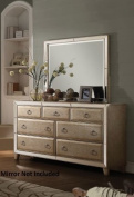 Acme Furniture Voeville 21005 170cm Dresser with 7 Drawers Front Trim Mirror Inserts Pine Wood and Oak Veneer Construction in Antique White