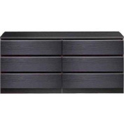 6-Drawer Water and Stain Resistant, Double Dresser, Black Wood Grain