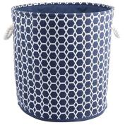 Dark Blue Round Hamper/Tote with Rope Handles, 27.5 x 30cm x 80cm H
