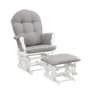 Padded Arms and Storage Pockets Glider and Ottoman, White w/ Grey Cushion