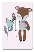 Fiona Fawn Deer Single Toggle Switchplate Wall Cover Fawn Deer with Sparrow and Flower