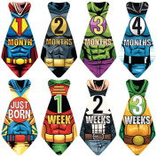"NEW! Stick'Nsnap (TM) 17 Baby Monthly Necktie Onesie Stickers - ""Happy Heroes"" (TM) Milestones for 12 Months + for a limited time, 5 Bonus Milestones - Great Baby Shower Gift!"