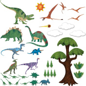 Dinosaur Wall Decals - Peel & Stick Dinosaur Wall Stickers for Dinosaur Themed Room