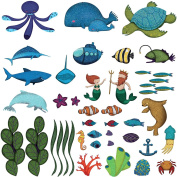 Ocean Scene Wall Decals by My Wonderful Walls - 44 Peel & Stick Under the Sea Wall Decals for Ocean Themed Nursery and Under the Sea Birthday Party