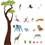 Jungle Wall Decals by My Wonderful Walls - Peel & Stick Jungle Tree Decals, Safari Décor, Monkey Decals, Elephant Decals, Giraffe Decals for Baby Nursery and Jungle Theme Baby Shower