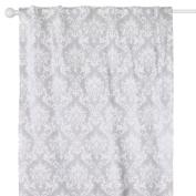 Grey Damask Print Blackout Window Drapery Panels - Two 210cm by 110cm Panels