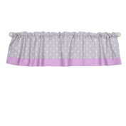 Grey and Purple Arrow Print Cotton Window Valance by The Peanut Shell
