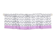 Grey and Purple Chevron Window Valance by The Peanut Shell - 100% Cotton