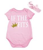 Petitebella Dress IF THE FITS Bling Crown Pink Cotton Bodysuit Romper Set Nb-18m