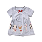 Cute Baby Girls Short Sleeve Dress/T-shirt with Small Animal Prints