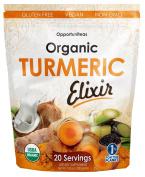 Organic Turmeric Elixir | Golden Milk Powder Drink Mix | Curcumin Supplement | Gluten Free + Vegan + Non GMO | 20 Servings