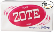 (PACK OF 12 BARS) Zote Pink Laundry Bar Soap, with Even MORE Pinkning Power & Satin Remover. Light Fresh Scent! Safe for delicate clothes!