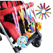 NERLMIAY 2 pcs Colourful Baby Kids Safety Seat Stroller Toys hanging with Pacifier Chain Baby Toy Fixed To Carry
