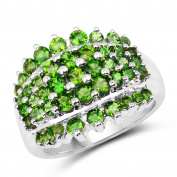 2.60 Carat Genuine Chrome Diopside .925 Sterling Silver Ring