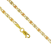 14K Yellow White Rose Gold 6.3mm Valentino Tri Colour Necklace Chain Link Lobster Clasp, 18-24 Inches