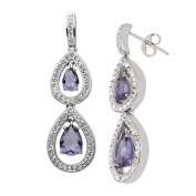 Crystaluxe Drop Earrings with Purple. Crystals in Sterling Silver